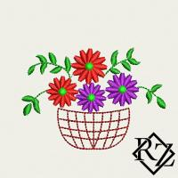 Скачать бесплатно дизайн машинной вышивки Корзинка цветов